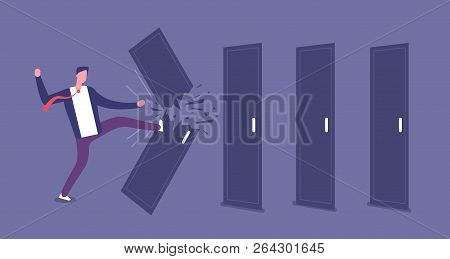 Breaking Door. Powerful Businessman Overcomes Barriers, Roadblock. Brute Force And Challenge Vector