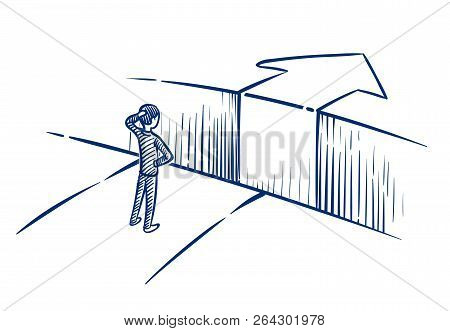 Business Challenge Concept. Businessman Overcomes Obstacle Chasm On Way To Success. Hand Drawn Vecto