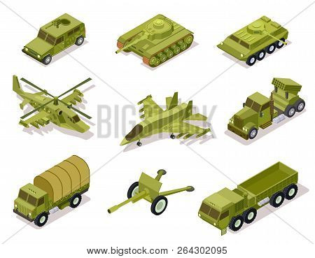 Armor Weapon Collection. Helicopter And Cannon, Volley Fire System And Infantry Fighting Vehicle, Ta