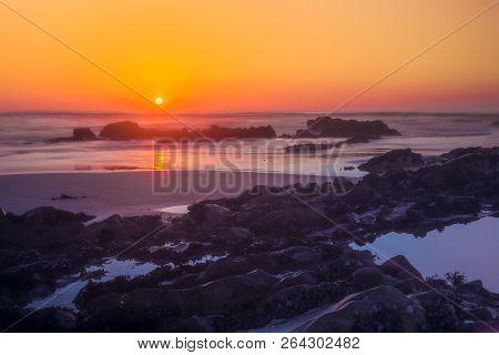 Sunset On Atlantic Beach In Esposende Village Forte De Sao Joao Baptista Minho Portugal.