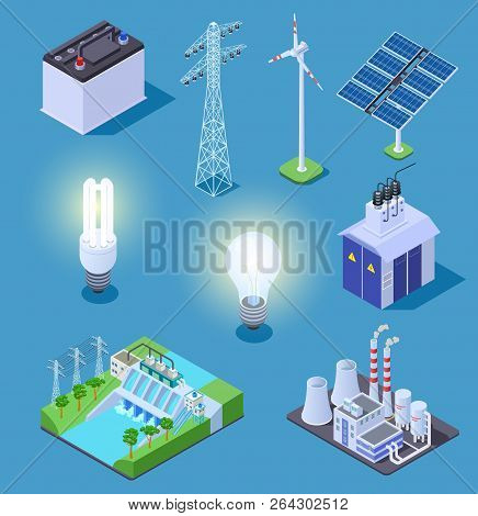 Electric Power Isometric Icons. Energy Generator, Solar Panels And Thermal Power Plant, Hydropower S
