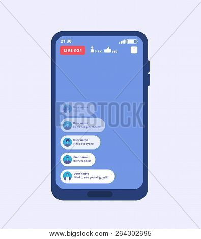 Smartphone Live Video Stream. Streaming Videos On Cellphone With Ui Inspired By Facebook. Vector Tem