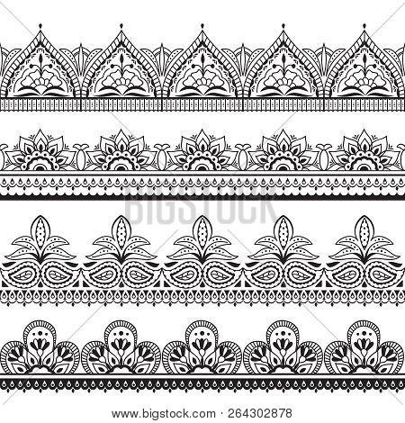 Mehndi Indian Design. Henna Oriental Seamless Borders. Indian Floral Ornament Vector Frames. Illustr