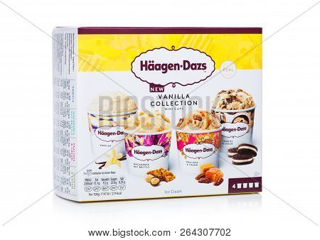 London, Uk - October 20, 2018: Multipack Of Haagen-dazs Vanilla Collection Ice Cream On White.