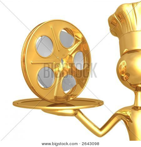 Golden Chef Serving A Movie