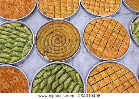 Delicious Turkish Sweet, Baklava With Green Pistachio Nuts