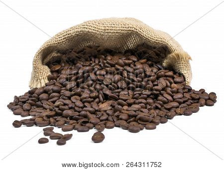 Roasted Coffee Beans Falling Out Of A Burlap Sack. Sackcloth Bag With Coffee Beans, Isolated On Whit