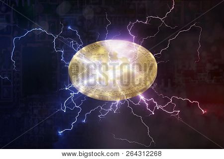 Bitcoin Or Altcoin Digital Crypto Currency Lightning Network Change Concept. And Soft Fork