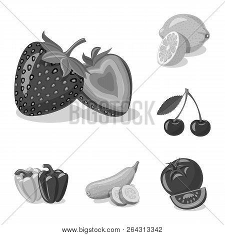 Vector Design Of Vegetable And Fruit Sign. Set Of Vegetable And Vegetarian Vector Icon For Stock.