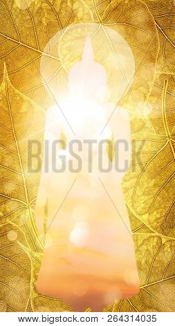 Buddha Stand On Gold Boleaf Background Double Exposure Or Silhouette Design