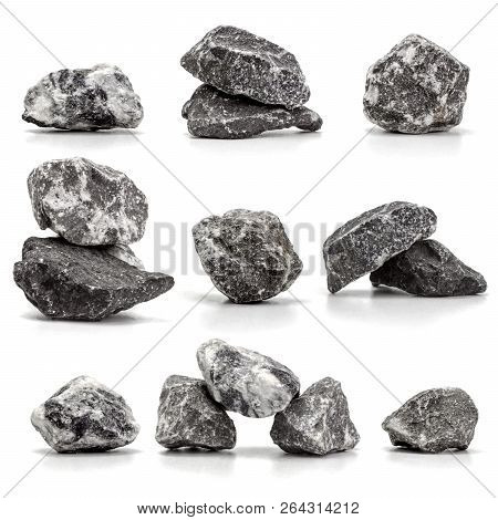 Collection Of Stones Isolated On White Background.close Up