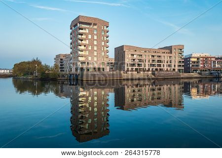 Modern Buildings In The City Rostock, Germany.