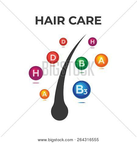 Hair Care. Hair End Vitamins Keratin Protect Illustration