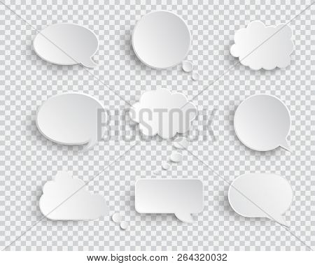 White Blank Speech Bubbles Isolated Vector Set. Infographic Design Thought Bubble On The Transparent