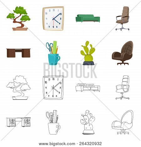 Vector Illustration Of Furniture And Work Sign. Collection Of Furniture And Home Stock Vector Illust
