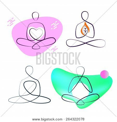Freehand Drawn Line Silhouette Abstract Girl Sitting In Lotus Po