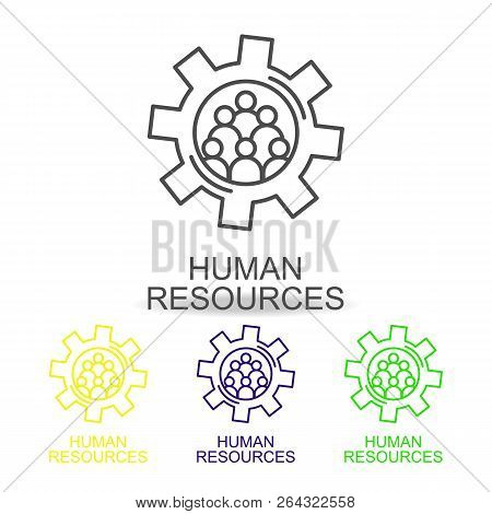 Hr Flow Chart Line Color Icons. Element Of Human Resources Icon For Mobile Concept And Web Apps. Thi