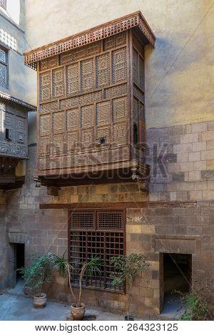Facade Of Zeinab Khatoun Historic House With Mamluk Era Style Oriel Window Covered By Interleaved Wo