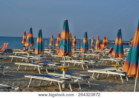 Morning Sea ​​tourist Beach, Eraclea Mare, Italy
