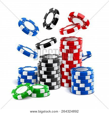 Falling Casino Chips Or Stack Of Realistic Gambling Blank Tokens, Betting Club 3d Cash Or Plastic Mo