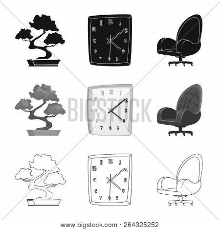 Vector Illustration Of Furniture And Work Logo. Set Of Furniture And Home Stock Vector Illustration.