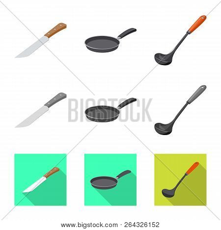 Vector Illustration Of Kitchen And Cook Logo. Set Of Kitchen And Appliance Stock Vector Illustration