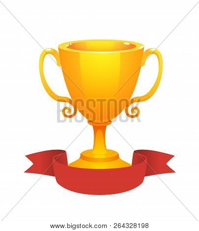 Gold Cup Trophy Award With Red Label. Prize For The First Place. Shiny Trophy On White Background.
