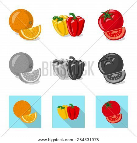 Vector Design Of Vegetable And Fruit Logo. Set Of Vegetable And Vegetarian Stock Vector Illustration