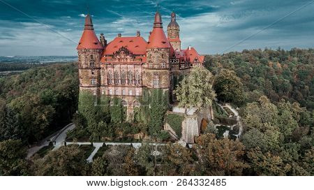 Ksiaz, Poland - September 11, 2018: Castle In Ksiaz Near Walbrzych Drone Aerial View