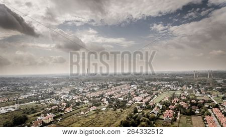 Drone Aerial View Vintage Style Photography With Industrial Warsaw City Suburbs