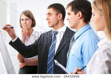 Business people discussing a new project at the whiteboard