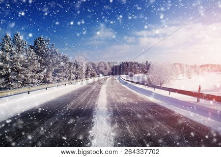 Winter Road, Covered With Snow On Sunny Day