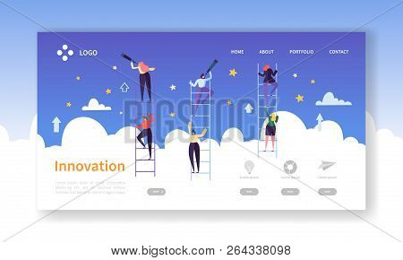 Business Innovation Landing Page. Business Vision Concept With Flat Characters In Search Of Creative