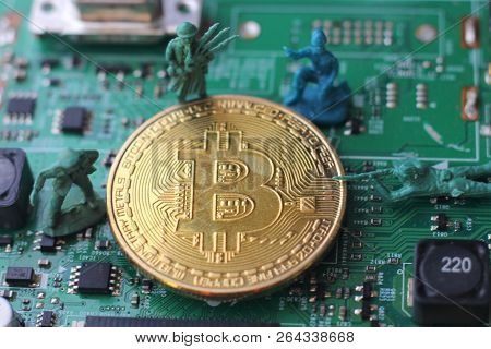 Bitcoin Under Attack Four Miniature Men Surrounded By Pile Of Bitcoin. Miniature Figurine Toys Stand