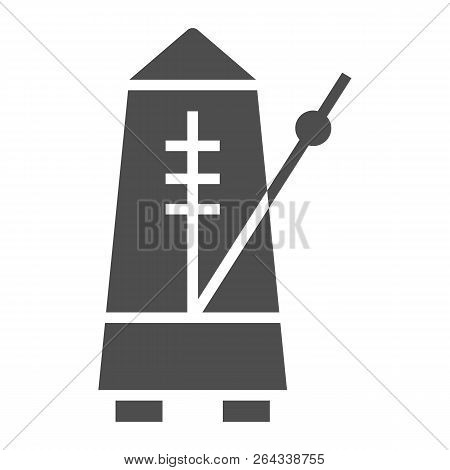 Metronome Glyph Icon, Musical And Tempo, Equipment Sign, Vector Graphics, A Solid Pattern On A White