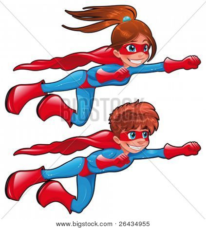Young superheroes. Funny cartoon and vector characters. Isolated objects