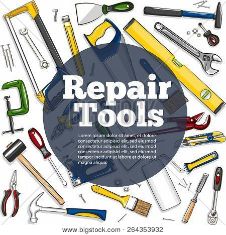 Repair Tools Banner In Hand Drawn Style. Top View Mechanic Instruments Vector Illustration. Repairs