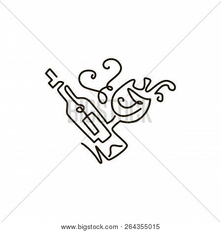 Vector Line Icon. Bottle Of Wine With Wineglass. One Line Drawing. Isolated On White Background. Con