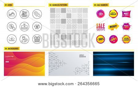 Seamless Pattern. Shopping Sale Banners. Add Person, Paper Clip And Buy Currency Icons. Piggy Sale,