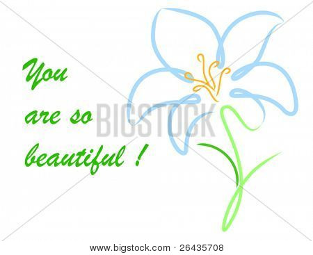Vector of lily card