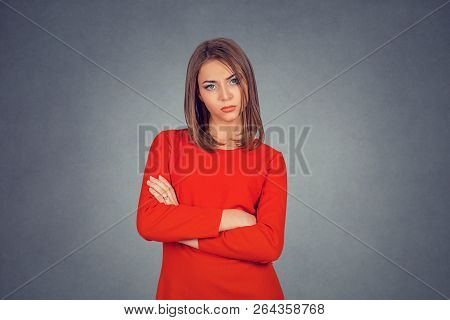 Grumpy Wife. Closeup Portrait Of Angry Young Woman Puffing Cheeks. Business Lady In Red Dress, Bob H