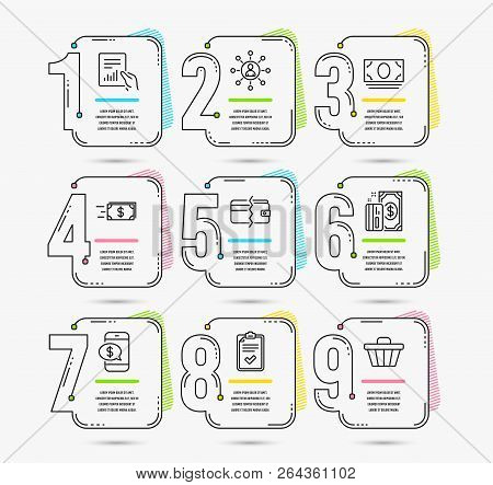 Infographic Timeline With 9 Options. Set Of Checklist, Phone Payment And Money Transfer Icons. Netwo