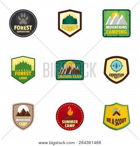 Camp Expedition Logo Emblem Set. Flat Set Of 9 Camp Expedition Vector Logo Emblem For Web Design