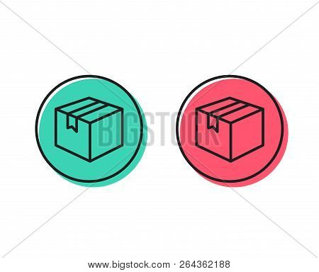 Shipping Box Line Icon. Logistics Delivery Sign. Parcels Tracking Symbol. Positive And Negative Circ