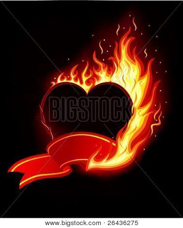 Vector of blazing heart