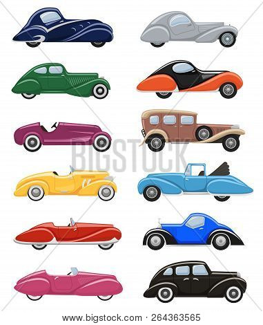 Art Deco Car Vector Retro Luxury Auto Transport And Art-deco Modern Automobile Illustration Set Of O