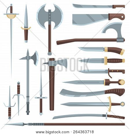 Sword Vector Medieval Ancient Weapon Of Knight With Sharp Blade And Pirates Knife Illustration Broad