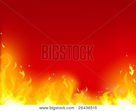 flame on a red background