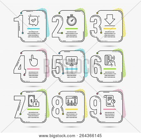 Infographic Template With Numbers 9 Options. Set Of Private Payment, Downloading And Hand Click Icon
