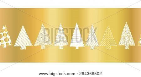 Gold Foil Christmas Tree Seamless Vector Pattern Border. White Hand Drawn Doodle Textured Christmas